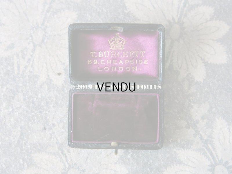 画像2: アンティーク 本革製 王冠のジュエリーボックス  ピアス用 深紫のベルベット