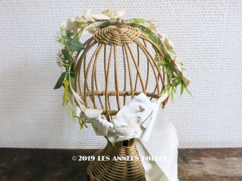 画像1: 19世紀 アンティーク ナポレオン3世時代 布花のヘッドリース