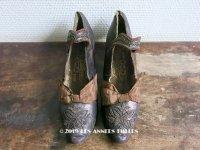 19世紀末 アンティーク シューズ メタルビーズの刺繍 ブラウン