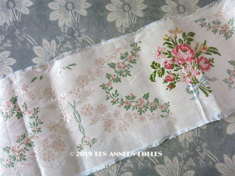 画像1: 19世紀 アンティーク シルク製 ジャガード織リボン 薔薇のブーケの刺繍入り 96cm