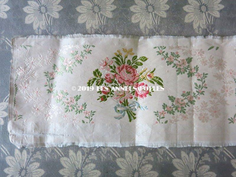 画像2: 19世紀 アンティーク シルク製 ジャガード織リボン 薔薇のブーケの刺繍入り 96cm