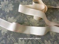 1900年代 アンティーク シルク製 グログランリボン サテンの縁取り オフホワイト&アイボリー