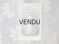 1878年 アンティーク 初聖体のカニヴェ ホーリーカード コミュ二オンの少女 レースの透かし模様