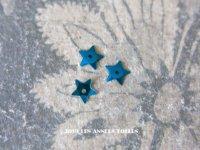 19世紀末 アンティーク メタル製 極小 5mm 星型 立体 スパンコール 青 50ピースのセット