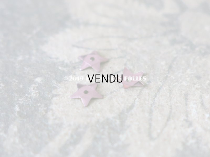 画像2: 19世紀末 アンティーク メタル製 極小 5mm 星型 立体 スパンコール 淡いピンクパープル 50ピースのセット