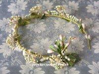 アンティーク ワックスフラワーのヘッドリース 小さなオレンジの花 ウェディング 結婚式 ティアラ