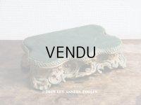 19世紀末 アンティーク ロカイユ装飾の台座 グリーンのベルベット (721)