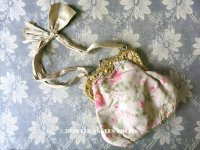 【クリスマスセール2019対象外】 19世紀 アンティーク オモニエール シルク製 ピンクの薔薇模様のほくし織