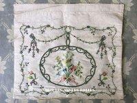 18世紀 アンティーク シルク製 刺繍入り ファブリック