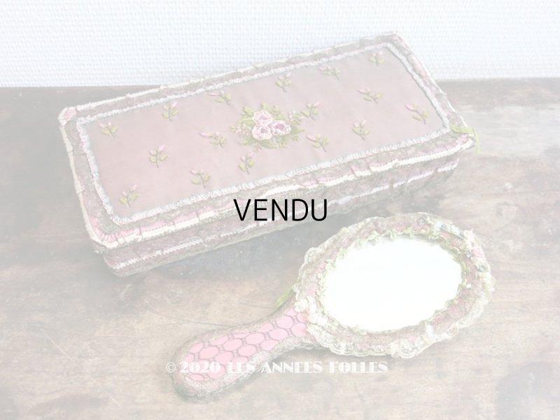 画像1: 未使用 アンティーク リボン刺繍 & ロココトリムの手鏡 ボックス入り