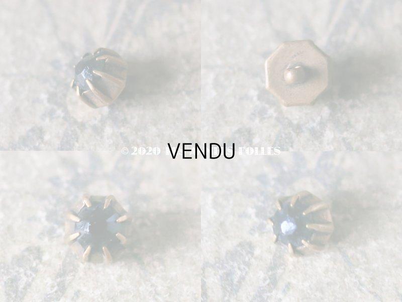 画像2: アンティーク ダークブルー カット入りガラスのボタン 7mm