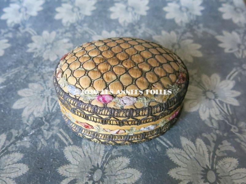 画像2: アンティーク シルク製ロココトリム付 パウダーボックス