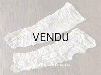 未使用 1900年代 アンティーク 少女のドレスの小さなレース袖 シルクシフォン&手編みのヴァランシエンヌレース