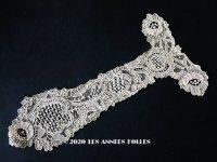 19世紀末 アンティーク ポワンドローズの胸飾り ニードルレース  ポワンドガーズ   『ポワン・ド・ガーズ』 『ポワン・ド・ローズ』