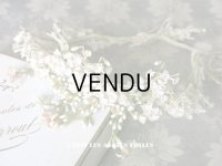 アンティーク 白い花&ワックスフラワーの花冠 ヘッドリース ウェディング 結婚式 ティアラ
