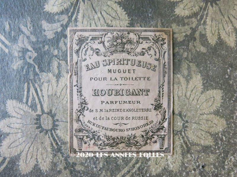 画像1: 19世紀 アンティーク 鈴蘭のパフュームラベル EAU SPIRITUEUSE MUGUET POUR LA TOILETTE - HOUBIGANT PARIS -