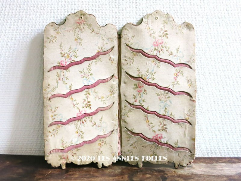 画像1: 19世紀末 アンティーク カルトナージュ  カードホルダー 薔薇&リボン