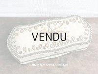1900年代 アンティーク リボン刺繍のカルトナージュボックス グローブ入れ