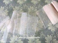 アンティーク シルク製 チュールレース パウダーピンク  1.4m  6.5〜9.5cm幅