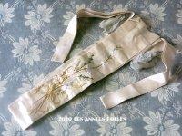 1900年代 アンティーク シルク製 ファンのポシェット 刺繍入り 草花のブーケ