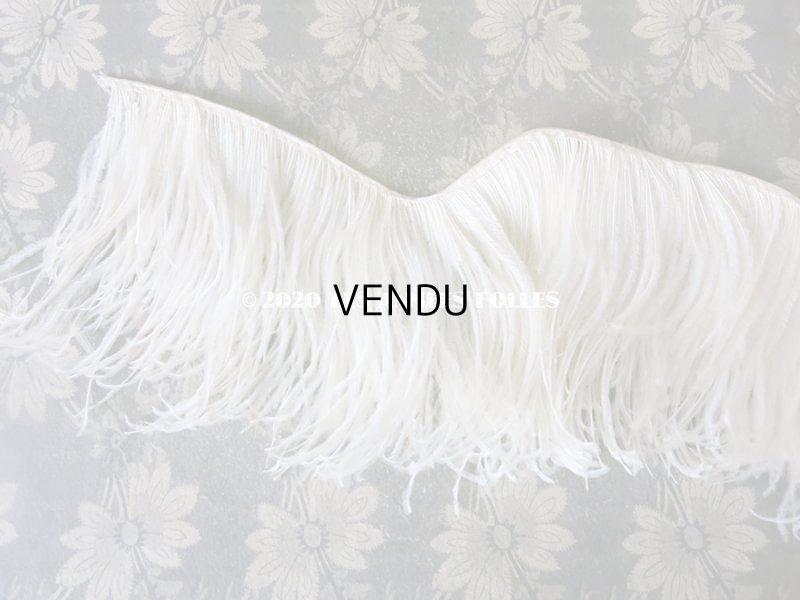 画像2: アンティーク オフホワイトのフェザーのフリンジ 羽飾り 16×85cm