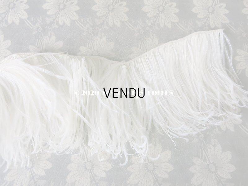 画像4: アンティーク オフホワイトのフェザーのフリンジ 羽飾り 16×85cm