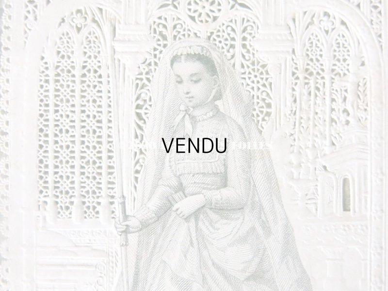 画像3: アンティーク  初聖体のカニヴェ  ホーリーカード コミュ二オン レースの透かし模様