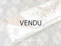 アンティーク シルク製 薔薇のブーケの刺繍入り パウダーブルーのグローブ用ポシェット