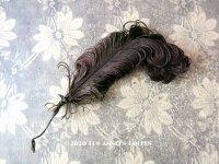 19世紀末 アンティーク 小さなフェザー チョコレートブラウン 羽飾り ドールハット