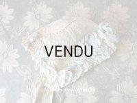 アンティーク ドール & ベビー用ボネ 水色のリボン&花模様と水玉の刺繍入り