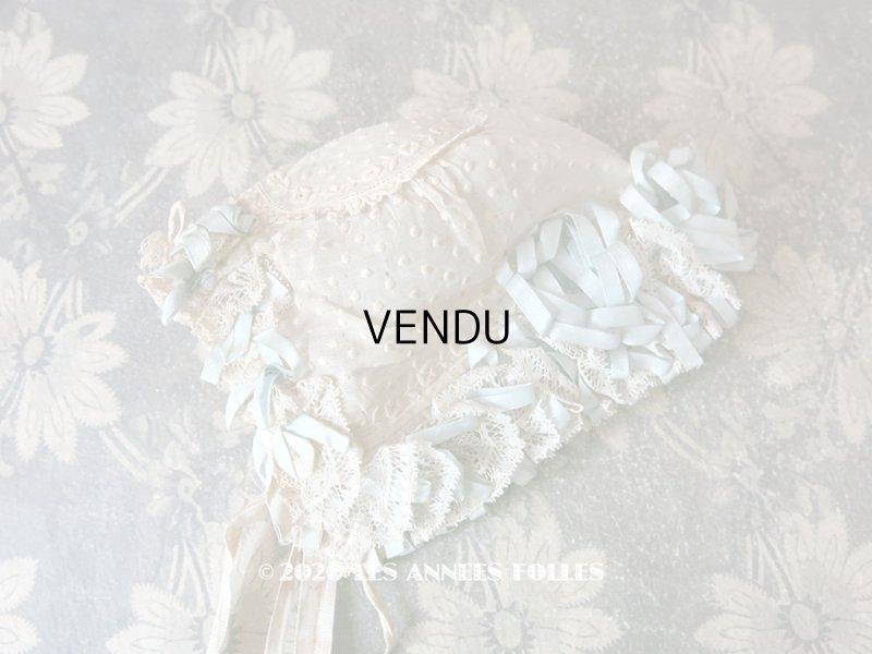 画像1: アンティーク ドール & ベビー用ボネ 水色のリボン&花模様と水玉の刺繍入り