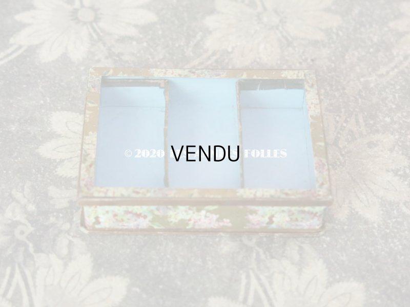 画像2: アンティーク ライラックの花模様 エパングルケース ガラスの蓋の紙箱