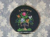 アンティーク 薔薇とパンジーのブーケ ガラスフレーム A MA SOEUR