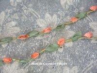 【10周年セール対象外】 1900年代 アンティーク シルク製 ロココトリム ピンク・オレンジの薔薇 ロココリボン