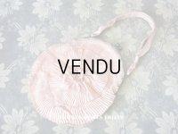 1920年代 アンティーク オモニエール  ピンクの薔薇のロココモチーフ付