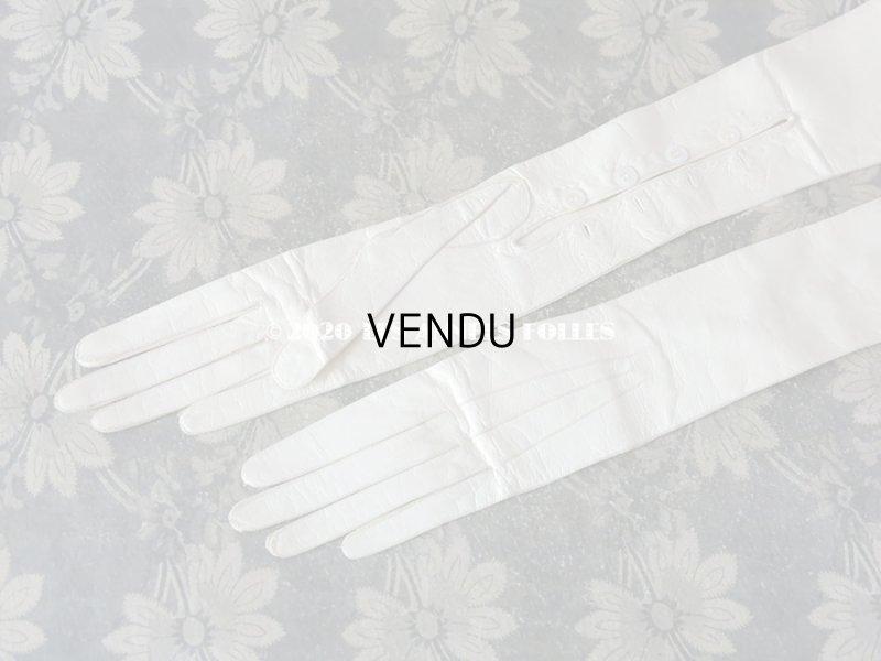 画像2: 未使用 1900年代 アンティーク  本革製 結婚式のロンググローブ  オフホワイト レザー 手袋