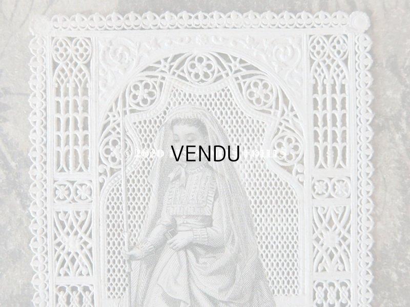 画像2: アンティーク  初聖体のカニヴェ  ホーリーカード コミュ二オンの少女 レースの透かし模様