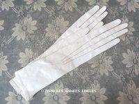 未使用 1900年代 アンティーク  本革製 極細 結婚式のグローブ ボンマルシェ百貨店 オフホワイト レザー 手袋 - AU BON MARCHE -