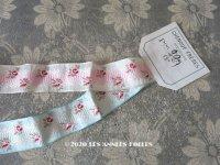アンティーク 薔薇刺繍のリボン 淡いピンク&水色のセット リボンメーカーのサンプラー