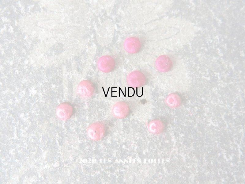 画像1: アンティーク ドール用 シルク製 くるみボタン 極小 4.5〜5.5mm ピンク 10ピースのセット