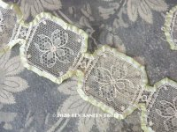 1920年代 アンティーク  シルクリボンで縁取られた花模様のレース