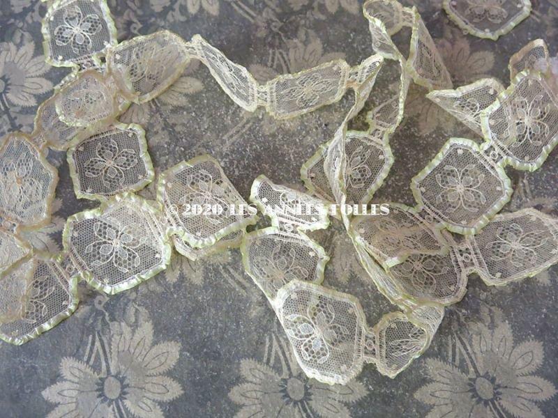 画像2: 1920年代 アンティーク  シルクリボンで縁取られた花模様のレース