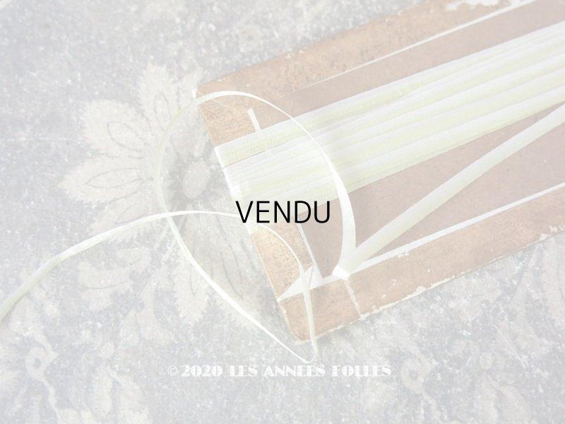 画像1: アンティーク  リボン刺繍 & ロココトリム用 シルク製 リボン 3mm幅 淡いグリーン 3.9m