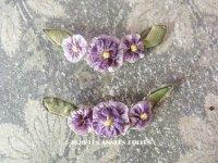 アンティーク シルク製 紫色の小さなロココモチーフ
