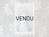 19世紀末 アンティーク  初聖体のカニヴェ  ホーリーカード コミュ二オンの少女 レースの透かし模様