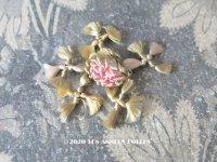 19世紀末 アンティーク シルク製 パスマントリー パウダーピンクの薔薇 ロココモチーフ