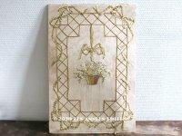 アンティーク リボン刺繍の大きなパネル リボンが結ばれた花かご