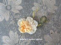 アンティーク シルク製 シルクシフォンの薔薇 ロココモチーフ 淡いイエロー・オレンジ