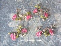 19世紀末 アンティーク シルク製 パスマントリー ピンクの薔薇 ロココモチーフ