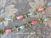 1900年代 アンティーク シルク製  ロココトリム 2色の薔薇 ロココリボン
